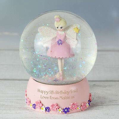 Personalised Pink Fairy Snow Globe Christening Gift Little Girl 1st Birthday 2nd