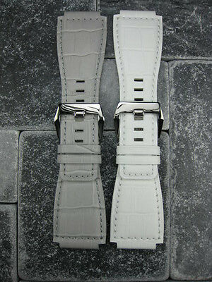24mm Bell & Ross Grain Leather Strap White Grey Watch Band BR-01 BR-03 Buckle