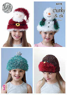 KING COLE 4478-  Girls Hats knit in Tinsel chunky &dk knitting pattern 2 - 12yrs