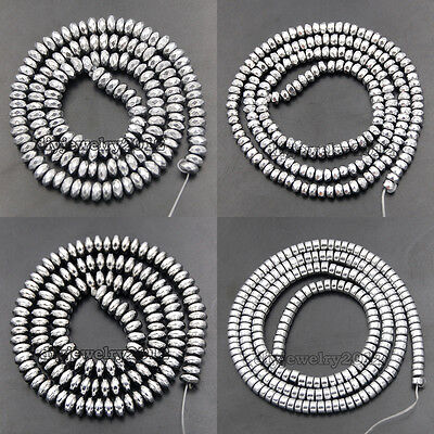 Silver Hematite Gemstone Rondelle Beads 16'' 2mm 3mm 4mm 6mm 8mm Smooth Faceted