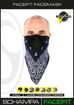 Schampa™ FaceFit Facemask w/ Mesh Breather, Navy Blue w/ White Paisley FMV-224