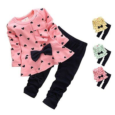 2Pcs Kids Baby Girls Clothing Long Sleeve Bowknot Dress + Pants Set Outfit 2-6Y