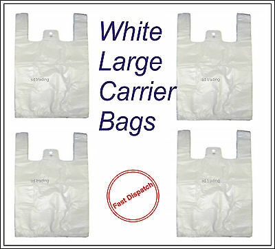 "Quality White Large HD Vest Style Plastic Carrier Bags 11"" x 17"" x 21"" 17 Micron"