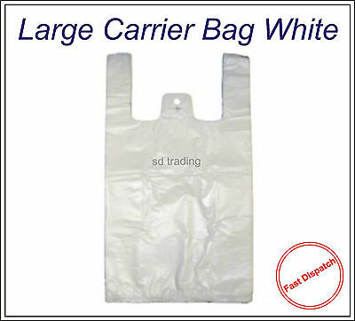 "500 White Large HD Vest Style Plastic Carrier Bags 11"" x 17"" x 21"" 17 Micron"