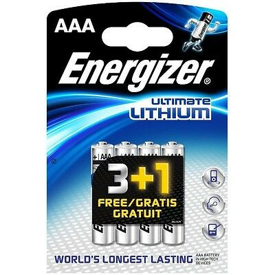4 Energizer Ultimate Lithium AAA Batteries 1.5V L92 LR03 Expiry 2034