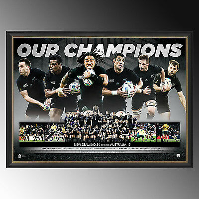 Rugby World Cup New Zealand All Blacks 2015 Champions Print Framed Un Signed