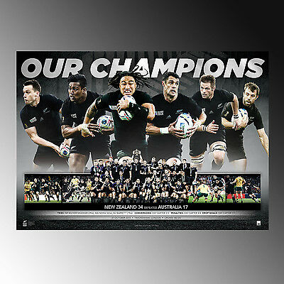 Rugby World Cup New Zealand All Blacks 2015 Champions Sports Print Un Signed