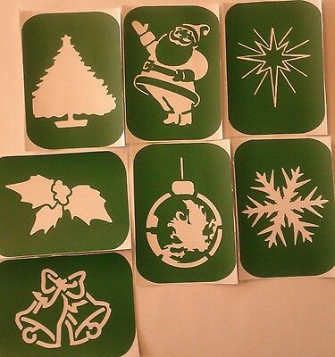 Pack of 7 Christmas-2 Xmas Yuletide Vinyl Glass etching Stencils