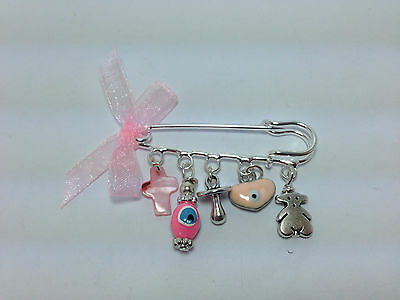 Lucky Evil Eye Safety Pin - Protection For Baby Girl