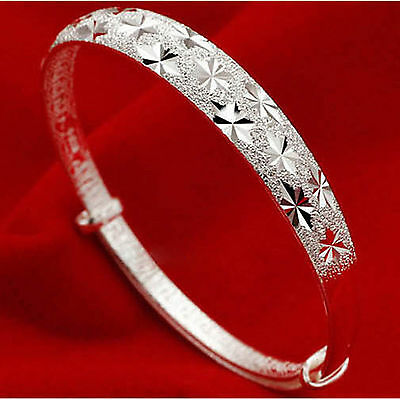 Adjustable 925 Sterling Silver Plated Engraved Bracelet/Bangle 7 to 9.5 inches
