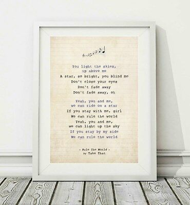 017 Take That - Rule The World - Song Lyric Art Poster Print - Sizes A4 A3