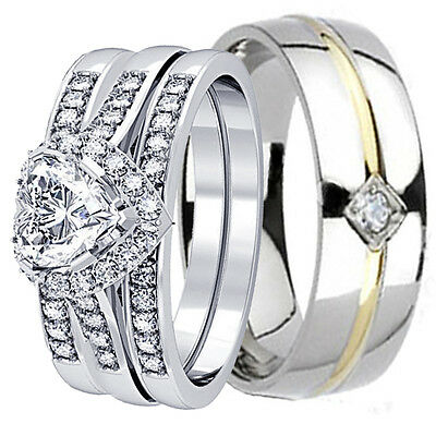 4 PCS HIS & HERS Genuine 925 STERLING SILVER WEDDING BRIDAL MATCHING RING CZ SET