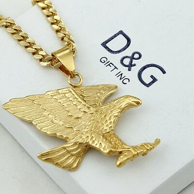 "DG Men's 24"" Stainless-Steel Gold.EAGLE,Pendant,Cuban Curb Chain Necklace~Box"