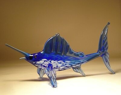 "Blown Glass Figurine  ""Murano"" Art Blue MARLIN FISH"