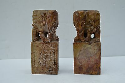Unusual Pair Antique Chinese/oriental Soapstone Elephants Very Fine Details 石雕大象