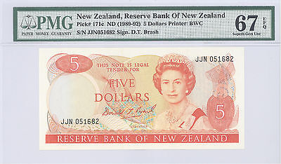 1989 New Zealand, Reserve Bank, 5 Dollars PMG 67 EPQ Superb GEM UNC P#: 171c