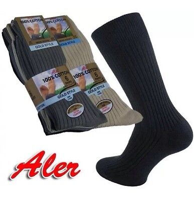 6 Pairs Mens/Boys Aler Gold Style 100% Cotton Ribbed Socks, UK Size 6-11