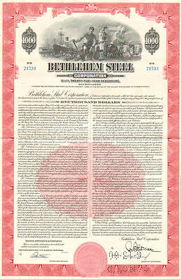 Bethlehem Steel Corporation   Pennsylvania manufacturing $1000 bond certificate