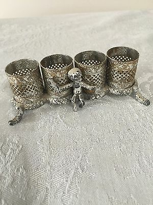 Vintage Footed Four Lipstick Holder with Angel Cherub Child and Leaves