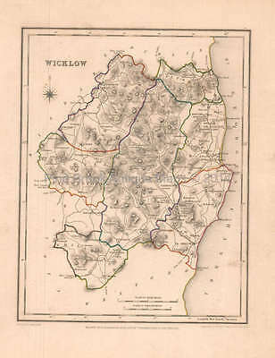 Wicklow County Ireland Antique Map Lewis 1837 Original