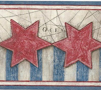 American Patriotic Red Stars & Blue Stripes - ONLY $9 -  Wallpaper Border A195