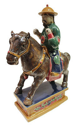 Beautiful Hand Made Vintage Style Porcelain Chinese Man on Horse 13""