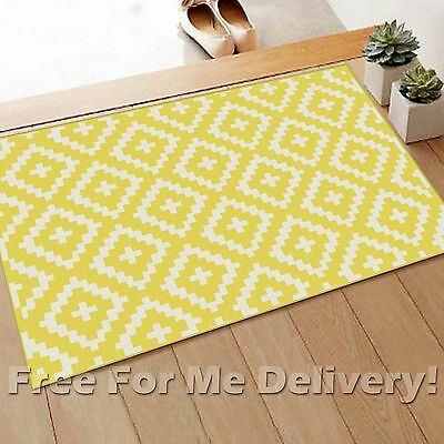 JUNE BIRDS EYE GEOMETRIC YELLOW MODERN FLOOR RUG MAT (XXS)67x140cm FREE DELIVERY