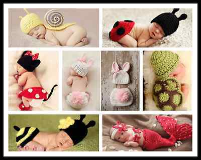 NewBorn Baby Girls Boys Crochet Knit Costume Clothes Photo Photography Props