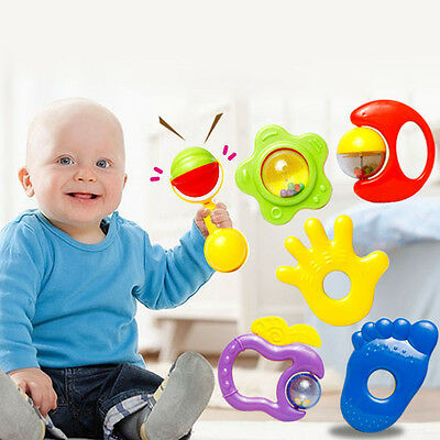 6Pcs Baby Kid Toddler Plastic Hand Jingle Shaking Bell Rattle Music Toys Gifts