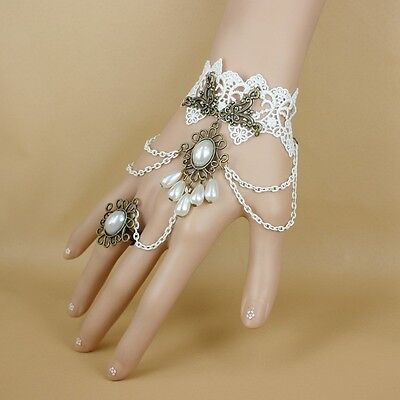 New Vintage Bridal Wedding Party Gloves Accessories Hand Chain Lace Pearls Ring