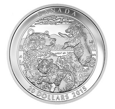 2015 $20 Grizzly Bear Family - 1 oz Silver Proof Coin - Royal Canadian Mint RCM