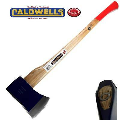Caldwells 6lb Felling Axe Chopper Hickory Handle Shaft Wood Solid Forged H15