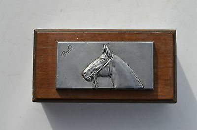 Bruce Fox Fine Embossed Horse Profile Aliminum/ Wood  Trinket/ Cigarette Box