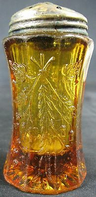 Antique Fancy Press Glass Amber Glass Salt Shaker