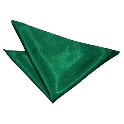 DQT Satin Plain Solid Emerald Green Formal Handkerchief Hanky Pocket Square