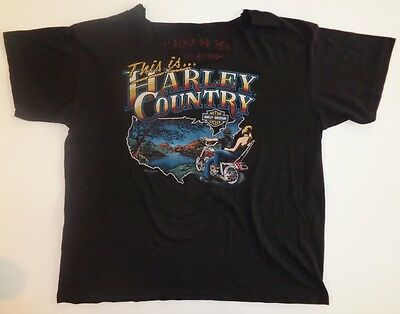 1983 Vintage This is Harley Davidson Country Tshirt Large XL Cement City Mich Mi