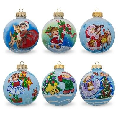 6 Children with Holiday Gifts & Animals Glass Ball Christmas Ornaments