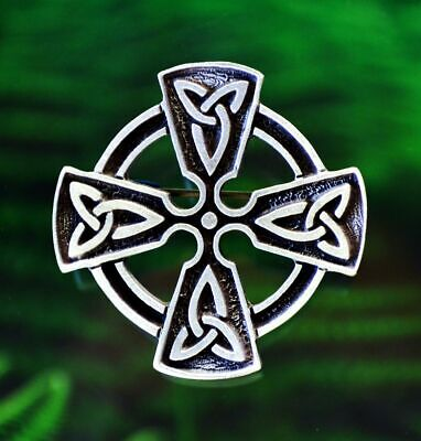 Celtic Cross Brooch Pin With Trinity Knot   Celtic, Medieval, Pewter #1448