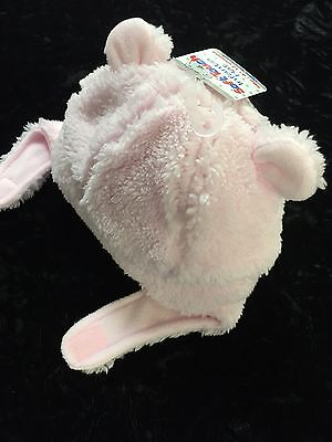 New Baby`s Soft Touch Pink Teddy Fluffy Velcro Hat With Ears 3-6 M