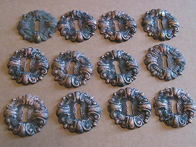 Lot Of 12 Matching Antique Key Hole Cover Escutcheons Furniture Parts