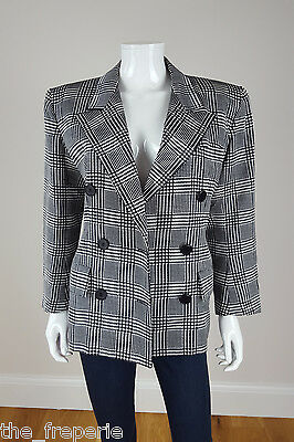 *yves Saint Laurent* Rive Gauche Vintage Black And White Check Blazer 44
