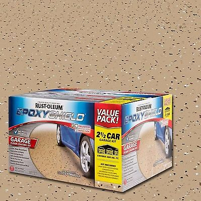 New 2 Car Garage Floor Epoxy Coating Kit Tan Colored 2 gal Paint Rust-Oleum