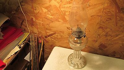 Antique Glass Oil Lamp & Shade Medium Size- Stars on Base