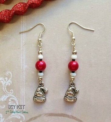 Santa's Hat  ~ Holiday  Christmas DIY Jewelry Earring Kit with Instructions