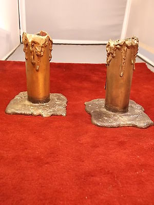 "Very Rare Antique ""melting Candle"" Candlestick Holders, Solid Cast Bronze, Vgc"