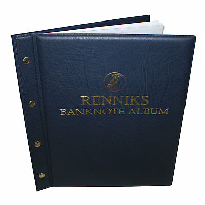 RENNIKS Banknote Album including 6 Note Album Pages - BLUE