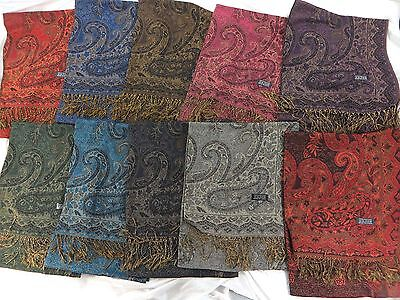US SELLER lot of 10 vintage floral boho paisley wholesale viscose pashmina scarf
