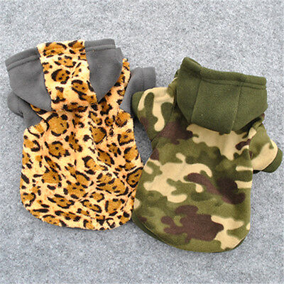 New Pet Puppy Dog Winter Coat Camouflage Green Leopard Hoodie Sweater Shirt Coat