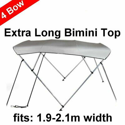 240cm Extra Long 4 Bow 1.9m-2.1m Boat Bimini Top Canopy Cover 130cm height Grey