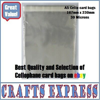 C5 / A5 Clear Cellophane Display Bags For Greeting Cards, Self Seal, Cello Bags